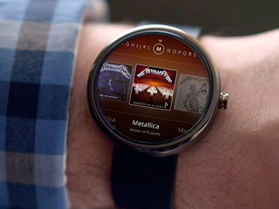 Android Wear Music Library android droid watch wear ui ux music metallica