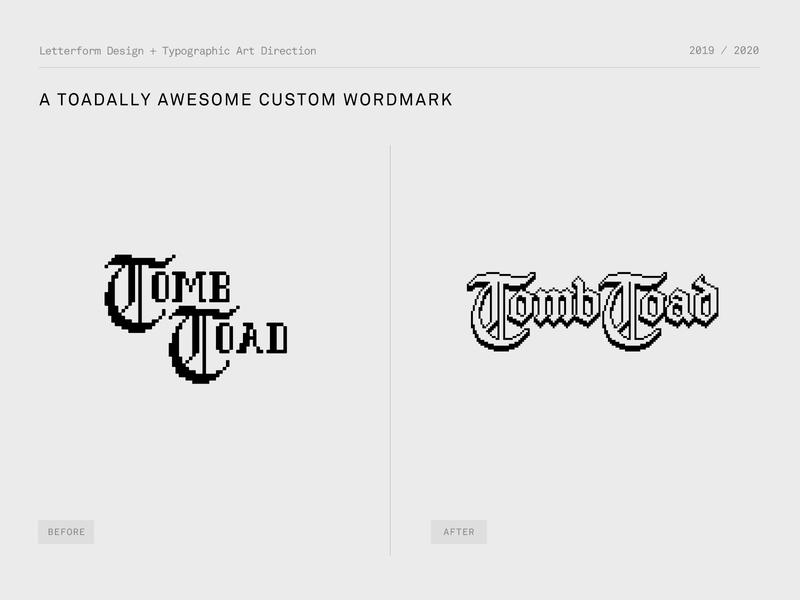Tomb Toad Wordmark blackletter gothic mobile gaming mobile gaming game 8-bit vintage retro identity typography logo design