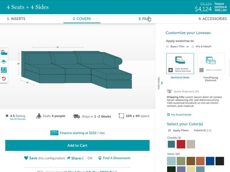 Customize your Furniture UX/UI cx configurator custom products customize web ux ui design