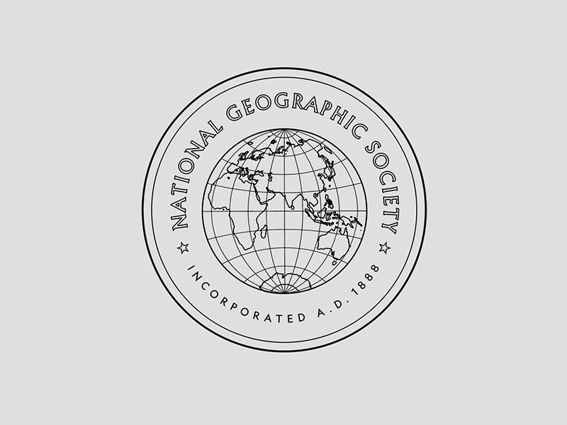 NG Seal education science history typography society badge globe seal logo design branding