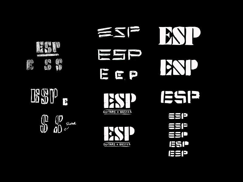 ESP Guitar - Revised Logos typography rock music instruments esp stencil guitar branding logo