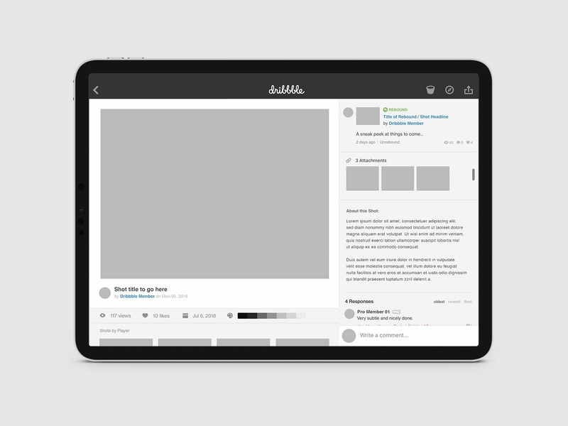Dribbble App - Layout Concept dribbble android ios tablet mobile digital ux ui app design