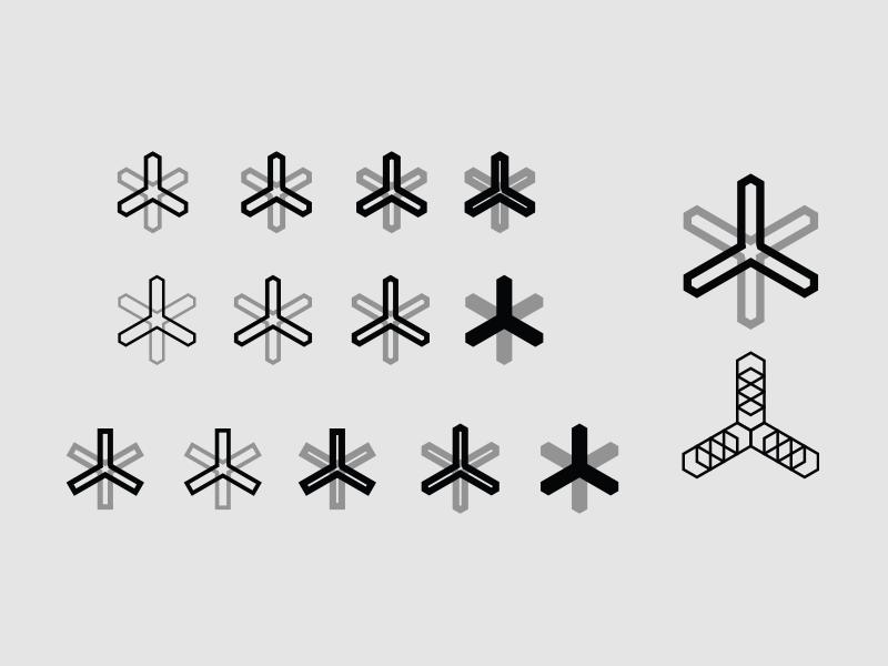 Asterisk Exploration depth hexagon illustration icon symbol id identity brand logo mark astersik