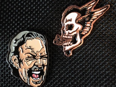 Enamel Pins - Part III product procreate drawing illustration design merch musician singing hetfield skull metallica enamel pin