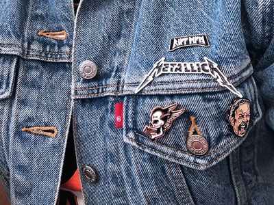 Hetfield Pins - Product Photo rune skull portrait metallica heavy metal vector type illustration identity typography branding design
