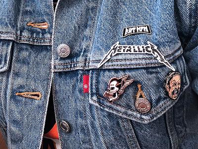 Hetfield Pins - Product Photo rune skull portrait metallica heavy metal vector type illustration identity typography branding design