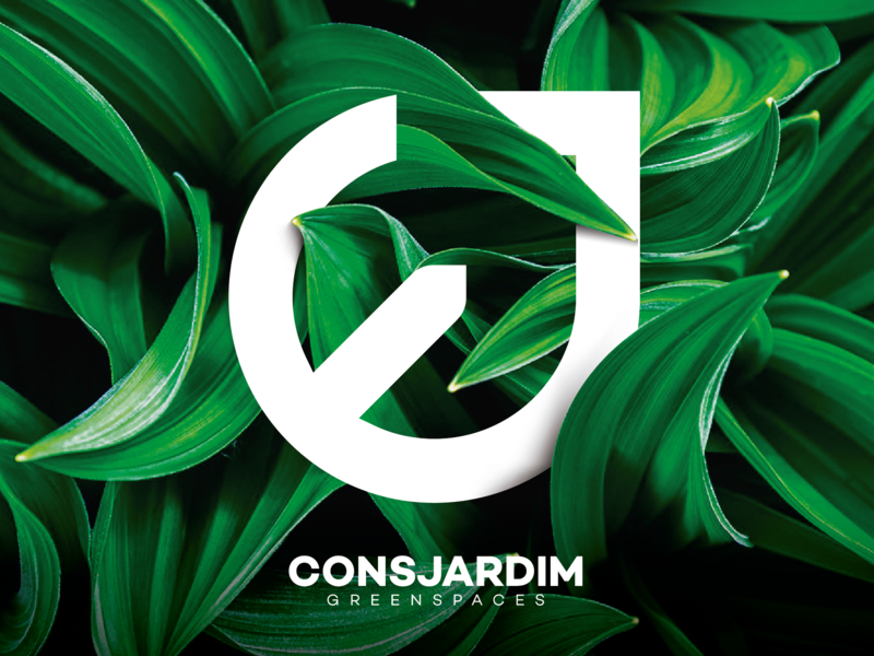 Visual Identity Consjardim grass tree simple flower plant forest garden typography design clean branding logo idendity brand