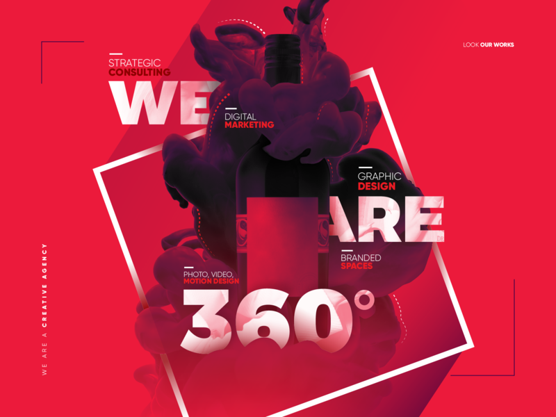 Creative Agency typography design type red webdesign website web creative agency wine