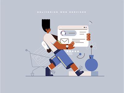 Delivering Web Services design ui character characters shape line texture boy man home vector illustrator illustration 2d flat technology