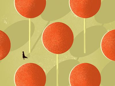 Lollipop Forest texture textured symbol orange mystery warm forest lollipop classic illustrator vector illustration
