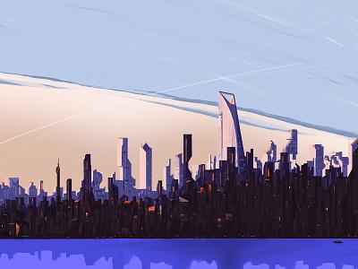 City Metro digital painting metropolis city illustration cityscape city