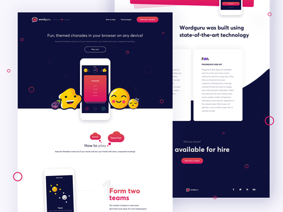 Wordguru Landing Page pwa vuejs app mobile desktop web game verbal charades landing page ui illustration logo