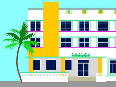 Avalon building architecture graphic art deco design miami illustration vector illustrator