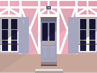 Rue Cremieux vector illustrator illustration facade architecture paris