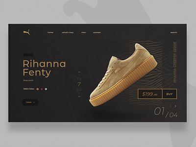 Puma x Fenty Rihanna minimal flat rihanna puma website vector illustration logo app web ui streetwear