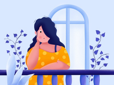 Cute Girl graphic design procreate art illustrations plants plant porch curly hair girl clean colorful flat design flat procreate character design vector character illustration