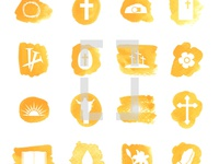 Vector Watercolor Easter Icons