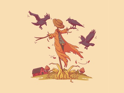 Scarecrow In Field illustration art barn crows windsurf october fall autumn illustration