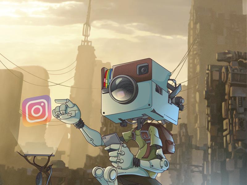 Instarobot ! instaart illustration art illustration graphic  design social media app social media robot insta instagram