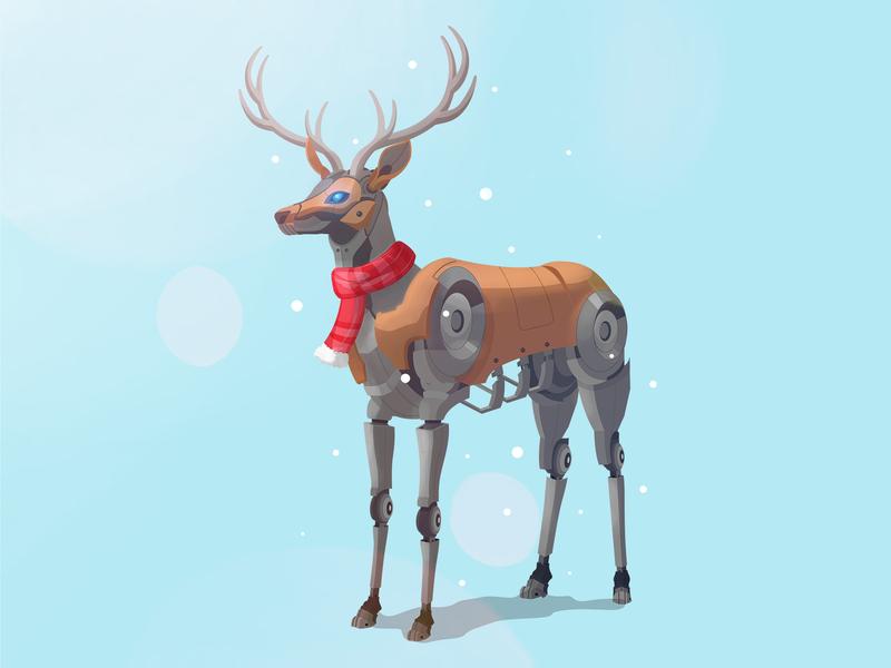 Robot Reindeer ! illustration art graphic art deer deer logo animal illustration christmas reindeer