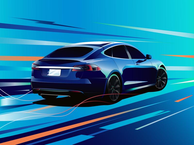 Tesla Model S. designarf illustration art supercar vector customart thefuture car ev elonmusk model-s tesla