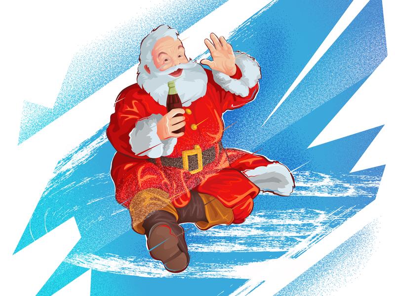 Santa Cola Classic ! party illustration holiday holidays coke christmas santa santa claus
