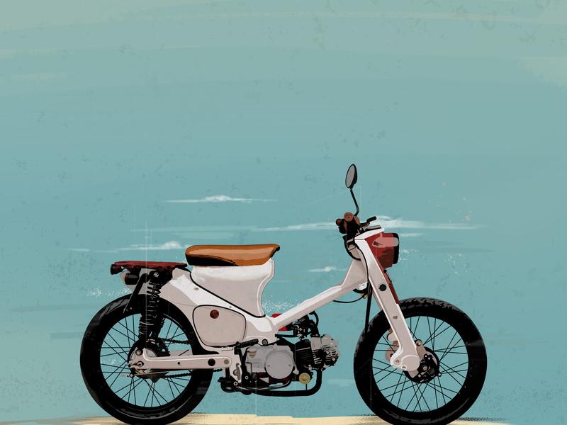 Honda CT90 illustration art bike kit honda motorcycle art motorcycle ride