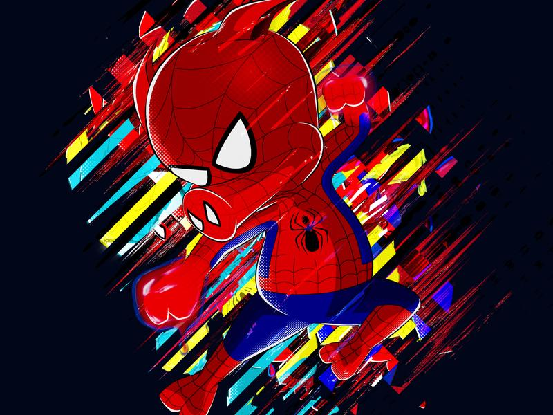 Peter Porker as Spider - Ham hero avenger superhero fanart pork spider spiderman