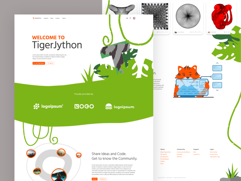 Landing page mock-up for my Bachelor's thesis project jungle tiger desktop ui design landing page branding ui