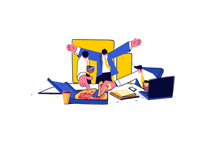 Finally!! mobile minimal clean icon flat illustration characterdesign character colors working pizza office vector illustration