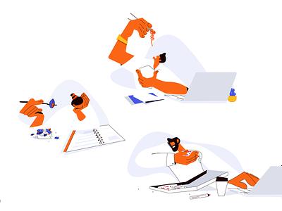 Daily routine uiillustration ui icon white orange eating lunch office man woman design illustrator illustration daily