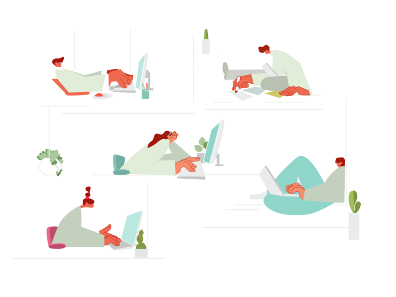 Daily routine illustrator character working space working atoffice office woman man icon set flat illustration daily vector illustration