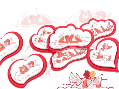 Happy Valentine's Day love happy valentinesday valentine sticker design drawing vector illustration