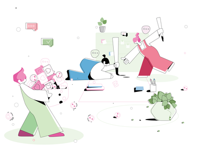 working/illustration clear concept colors office working process working space vector 2d color design illustration