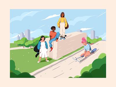 Illustration/fragment clean girl boy kids psd character adobe 2d illustration