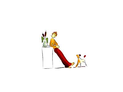 Sketch color allustrator llustration man dog drawing daily ink sketch