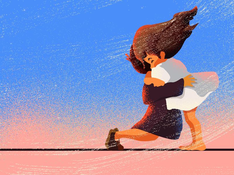 Hug daily wind pink sky cute hug character animation children girl illustrator drawing illustration
