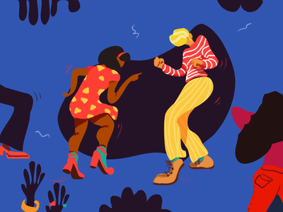 Illustration/daily colorful feeling music boy girl dancing flat drawing daily illustration