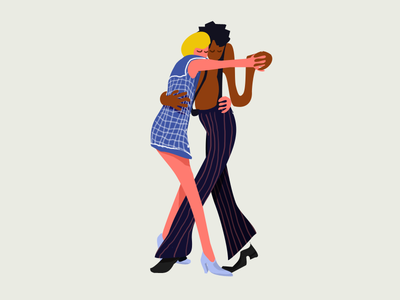 Illustration flat 2d simmple boy girl drawing dancing couple label design illustration