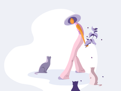 Illustration/daily flat colorful cat girl daily illustration