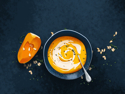 Soup shadow light yellow soup vector pumpkin daily drawing illustration