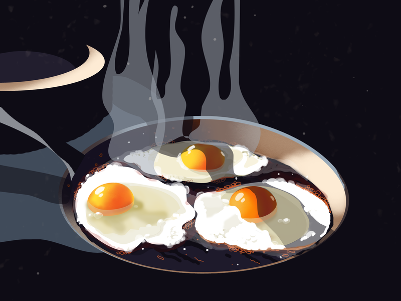 Just illustration fried egg food realistic illustration fire eggs daily drawing illustration
