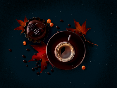 Automn/illustration realistic drawing coffee leaves color autonm psd drawing illustration