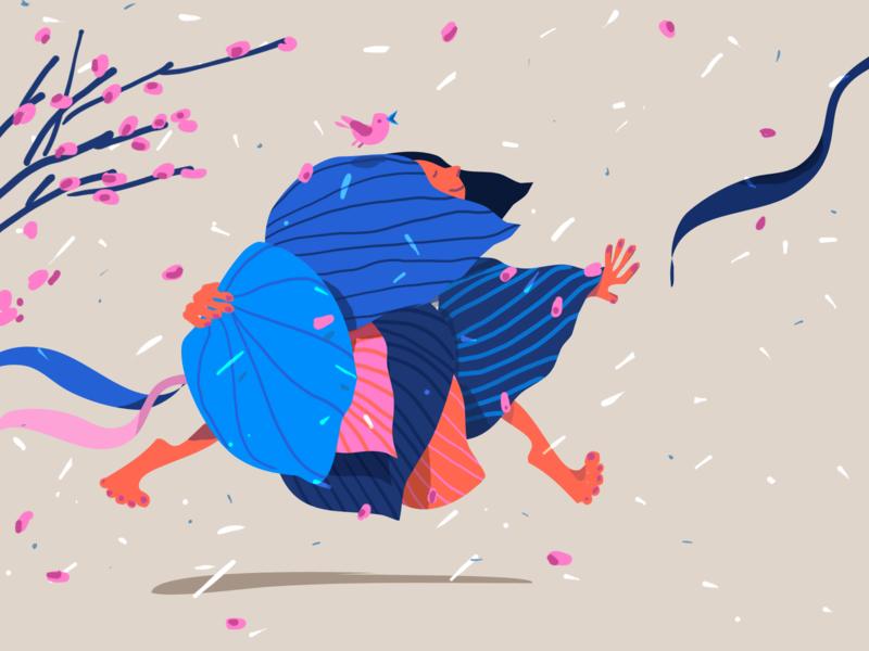 Elli character bird colorful blooming spring bookillustration girl drawing illustration
