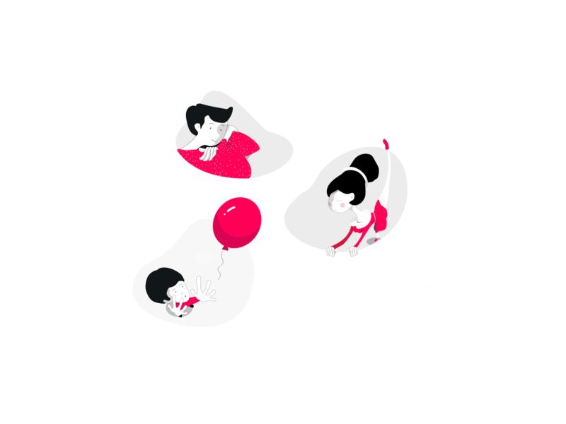 illustration/faces flat line balloon girl boy vector design icons illustration