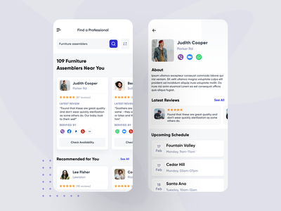 Hire Professional - Mobile App professional hotel app mobile app design dashboad booking app webapps social app marketplace job portal job finder search job platform freelancer hiring job listing job application job board job ui ux mobile app