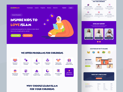 Online learning platform for children mosque shariah learn quran and hadith hajj and umrah quran web religious website charity masjid website landingpage child web and app online learning platform freelance designer web uiux design e-learning islam muslim website islamic learning platform islamic website