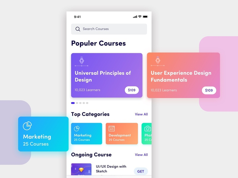 Courses Mobile App Design Concept courses app study app study colorful android ios elearning gradiant learning app sketch education app profile online course online courses course courses product mobile app ux ui