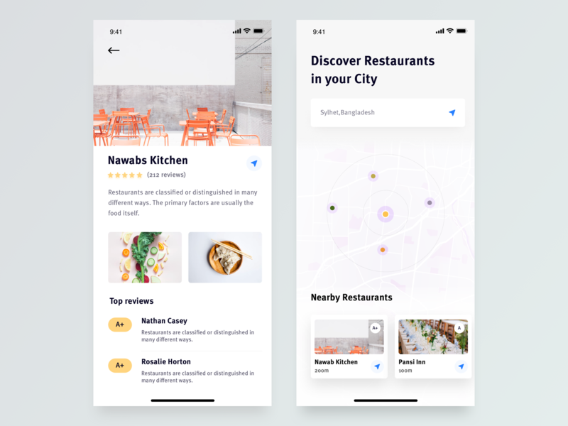 Restaurant Finder App by Suhayel Ahmed Nasim on Dribbble