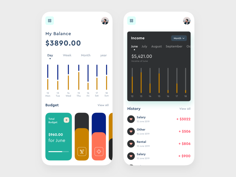 Financial App media player interaction design illustration budget health app finance finance business food app todo list planner music app dashboard cryptocurrency crypto wallet booking app money management wallet app social app financial finance app